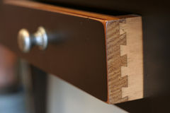 Details. Of a dovetailed joint on a drawer Stock Photo