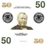 Details 50 $ banknote isolated Stock Image
