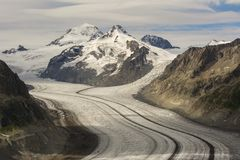 Glacier details. Details on the Aletsch glacier. Glaciers worldwide are melting at an alarming rate and Aletsch glacier is no exception Royalty Free Stock Photos
