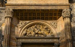 Details of ancient church in Prague, Czech royalty free stock image