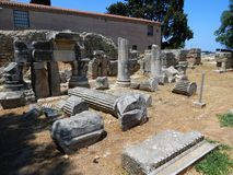 Details of antique stone buildings, Corinth royalty free stock photo