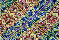 Details of arabic textile. Close up on oriental fabric in draper's shop at arabian market in Jerusalem, Israel Royalty Free Stock Photo