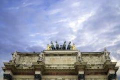Details Arc de Triomphe du Carrousel in Paris.  Stock Photo