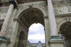Details Arc de Triomphe du Carrousel in Paris.  Stock Photo