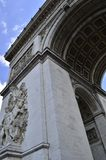 Details of Arc de Triomphe in Paris Arch of Triumph. Facade details of Arc de Triomphe in Paris Arch of Triumph low angle view at France Royalty Free Stock Photo