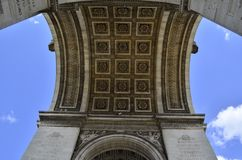 Details of Arc de Triomphe in Paris Arch of Triumph. Facade details of Arc de Triomphe in Paris Arch of Triumph low angle view at France Royalty Free Stock Photography