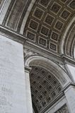 Details of Arc de Triomphe in Paris Arch of Triumph. Facade details of Arc de Triomphe in Paris Arch of Triumph low angle view at France Royalty Free Stock Image