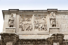 Details of Arch of Constantine  in Rome. Italy Stock Images