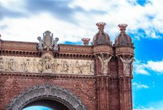 Details of the Arch de Triumph in Barcelona. `s Ciutadella Park Royalty Free Stock Photos