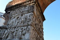 Details of Arch of Galerius in Thessaloniki, Greeece. stock photo