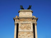 Details Arch of peace, Milano. Details Arch of peace, lateral view. Milan, Lombardy, Italy Stock Photos