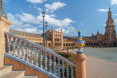 Details of the architecture of Plaza de Espana in Seville. Architectural details of the buildings and brdges of Plaza de Espana in Seville Royalty Free Stock Photos