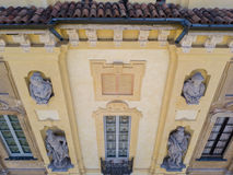 Details of the Arconati villa, statue windows and balconies. Villa Arconati, Castellazzo, Bollate, Milan, Italy. Aerial view Royalty Free Stock Photography