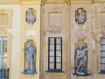 Details of the Arconati villa, statue windows and balconies. Villa Arconati, Castellazzo, Bollate, Milan, Italy. Aerial view Royalty Free Stock Image