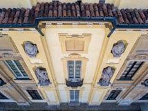 Details of the Arconati villa, statue windows and balconies. Villa Arconati, Castellazzo, Bollate, Milan, Italy. Aerial view Stock Image