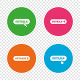 Details with arrow. More symbol and cursor. Details with arrow icon. More symbol with mouse and hand cursor pointer sign symbols. Round buttons on transparent Stock Photography