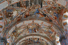 Details of the Atotonilco chapel murals. The detailed murals of the Atotonilco chapel ceiling Royalty Free Stock Image