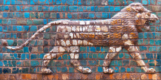 Details of the Babylonian Ischtar Tor. Ancient bas-relief with roaring Lion - details of the Babylonian Ischtar Tor (Ishtar Gate) in Istanbul, Turkey stock photos