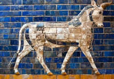 Details of the Babylonian Ischtar Tor. Glazed brick panel with Aurochs at the Babylonian Ischtar Tor (Ishtar Gate stock photos