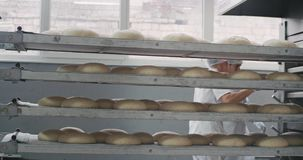 Details from a bakery factory big shelves of raw bread waiting to be load in the industrial oven machine, two. Professional workers load the shelf. shot on red stock footage