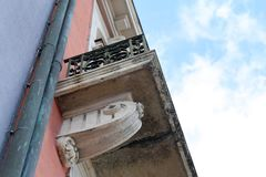 Details of a Balcony of an Old Medieval Style Building from Below royalty free stock photography