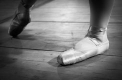Details of the ballet shoes stock photo