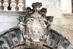 Details of the baroque that can be admired in the city of Lecce in Apulia, Italy. Details of the baroque that can be admired in the city of Lecce in Apulia royalty free stock image