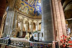 Details of the basilica of the Sacre Coeur of Montmartre in Paris. Royalty Free Stock Photos