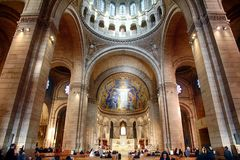 Details of the basilica of the Sacre Coeur of Montmartre in Paris. Royalty Free Stock Photography