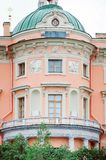 Details of beautiful old architecture, balcony and window. Historical buildings of St. royalty free stock images