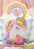 Details of a unicorn cake - Unicorn topper close up. Details of a beautiful unicorn cake - Unicorn topper close up royalty free stock photography