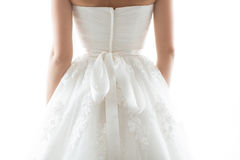 Details of beautiful wedding dress Stock Photos