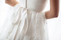 Details of beautiful wedding dress Stock Photo