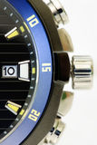 Details of a black and blue men's watch isolated Stock Photo