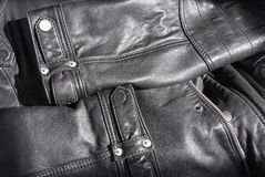 The details of a black leather jacket Stock Photos