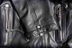 The details of a black leather jacket Royalty Free Stock Images