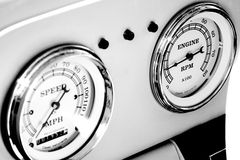 Odometer and tachometer of an antique car Royalty Free Stock Images