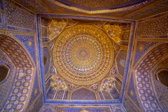 Blue interior with gold gild of Tile Karl Madrasa in The Regista royalty free stock photos