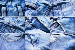 Details of blue jeans royalty free stock photos