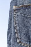 Details of blue jeans in zipper, pockets Royalty Free Stock Images