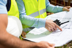 Details of blueprints on a construction site Royalty Free Stock Images