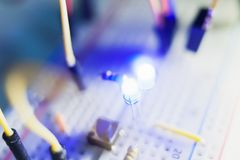 Details of breadboard for modern robotics. Microcontroller components Royalty Free Stock Photo