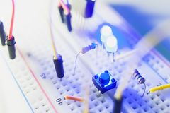 Details of breadboard for modern robotics royalty free stock images