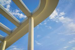 Details of building roof with cement lines against blue sky Royalty Free Stock Photography