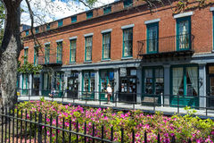 Details of the building of Savannah city in Georgia. Savannah, Georgia - May 15th 2014 - Details of the building of Savannah city in Georgia with some flowers in stock photos
