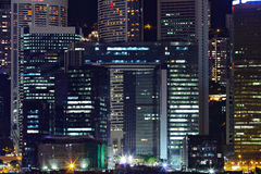 Details of business buildings at night in Hong Kong Stock Images