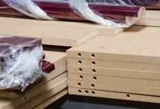 Details carpenter for furniture. MDF close-up royalty free stock image