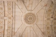 Details ceiling arch augusta historical interior, Lisbon. Portugal Royalty Free Stock Images