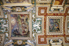 Details of Ceiling Decoration. The painted ceiling in Vatican museum in Rome, Italy Royalty Free Stock Image