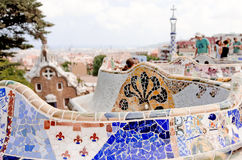 Details on ceramic in the famous park Guell Royalty Free Stock Photo